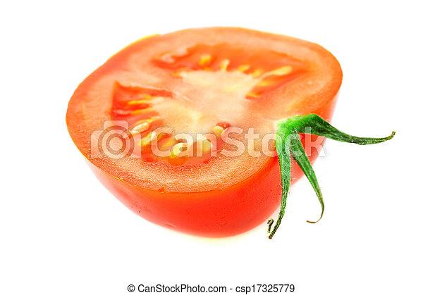 half of tomato isolated on white - csp17325779