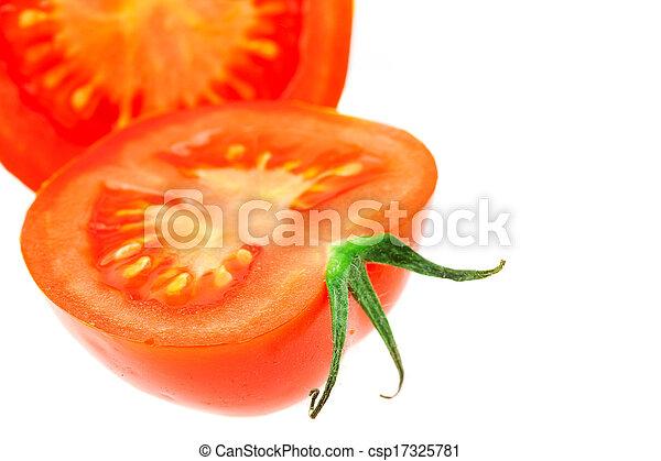 half of tomato isolated on white - csp17325781