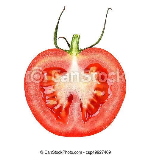Half of tomato isolated on white background - csp49927469