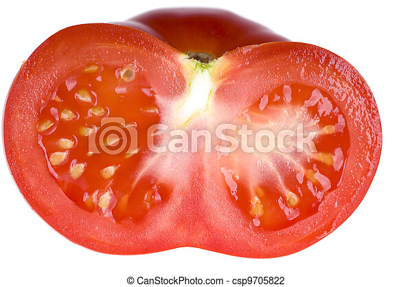 Half of tomato isolated on white background - csp9705822