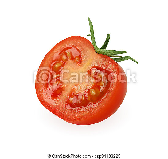Half of tomato isolated on white,. - csp34183225