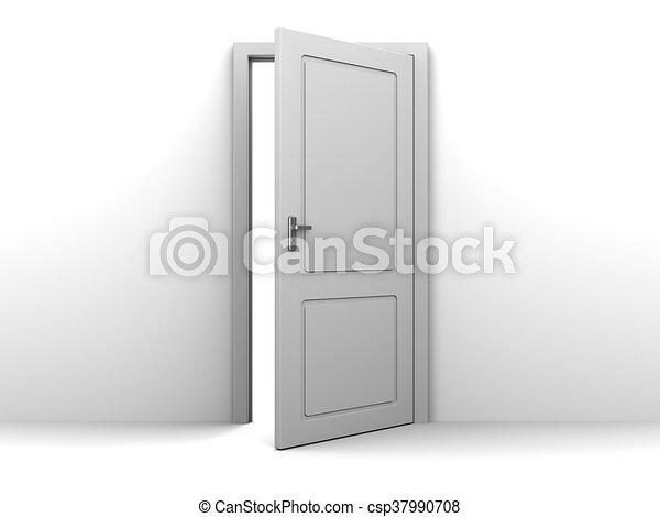 open door drawing. Half Open Door - Csp37990708 Drawing A