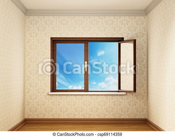 Half open windows inside an empty room opening to blue sky. 3D illustration - csp69114359