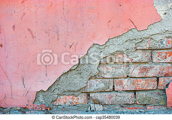 Half red brick and half painted concrete wall textured background