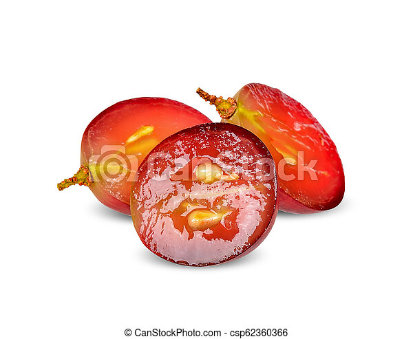 Half red grape isolated - csp62360366