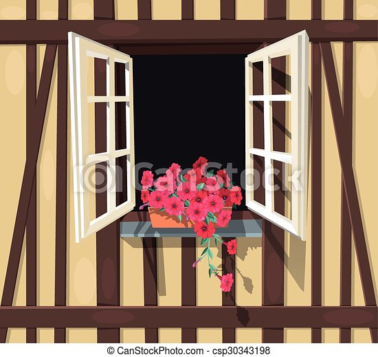 Half-timbered house window - csp30343198
