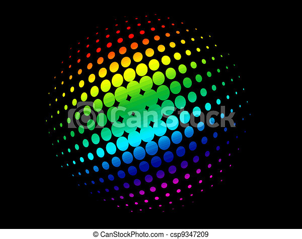 Halftone circle with rainbow colors - csp9347209