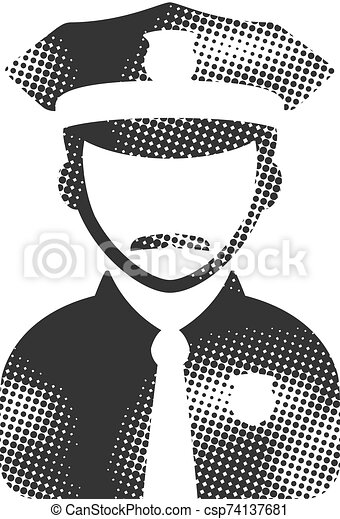 Halftone Icon - Police avatar - csp74137681