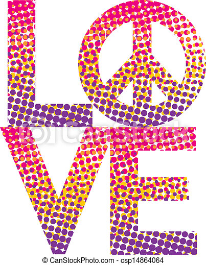 Halftone Love Peace Symbol Graphic Dot Haltone Filling The Word