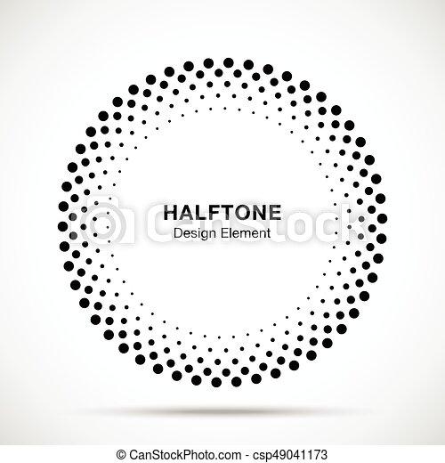 Halftone vector circle frame dots logo emblem, design... vectors ...
