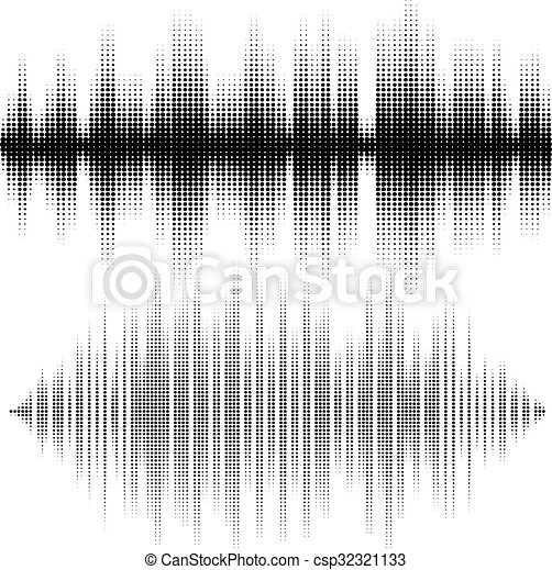 Halftone vector elements. Vector sound waves. Music waveform background. You can use in club, radio, pub, DJ show, party, concerts, recitals or the audio technology advertising background. - csp32321133