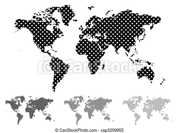 World map modern world map with the land in green and oceans in blue halftone world map black and white gumiabroncs Image collections