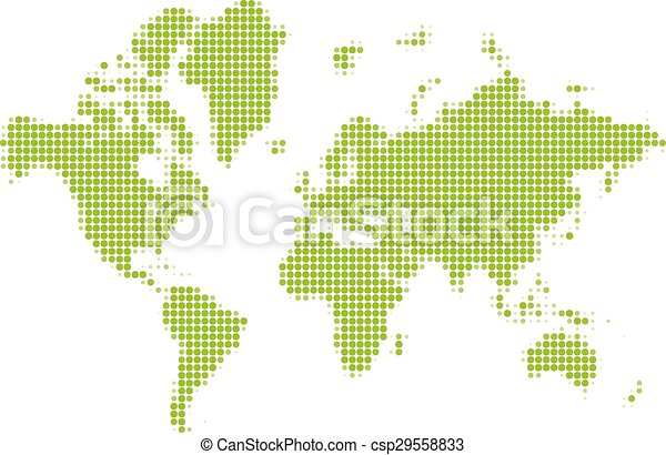 Halftone world map dotted green world map made of circles vector halftone world map csp29558833 gumiabroncs Image collections