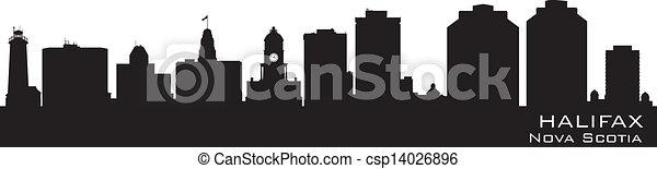 Halifax Canada skyline. Detailed vector silhouette - csp14026896