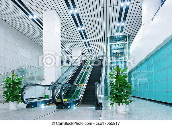 Hall and escalators - csp17055917