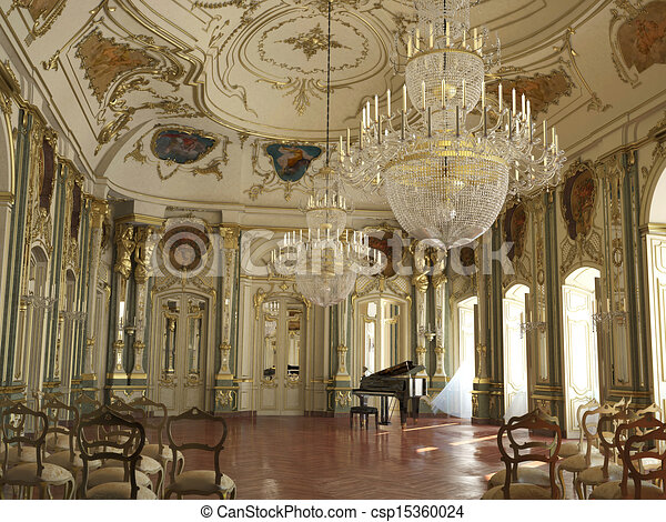Majestic grande y condecorado salón de conciertos de piano. - csp15360024