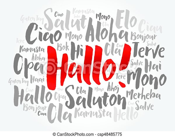Hallo hello greeting in german word cloud in different vectors hallo hello greeting in german csp48485775 m4hsunfo