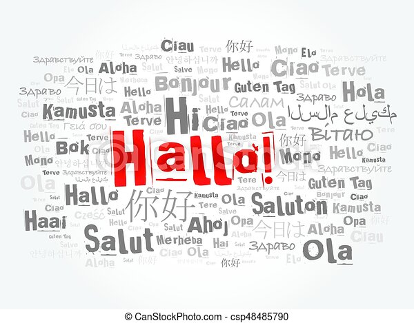 Hallo hello greeting in german word cloud in different languages hallo hello greeting in german word cloud csp48485790 m4hsunfo