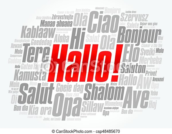Hallo hello greeting in german word cloud in different vectors hallo hello greeting in german word cloud csp48485670 m4hsunfo