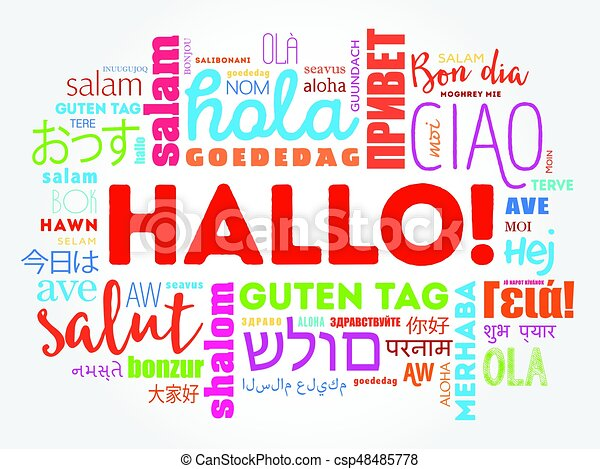 Hallo hello greeting in german word cloud in different vectors hallo hello greeting in german word cloud csp48485778 m4hsunfo