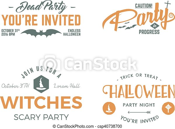Halloween 2016 party invitation label templates with scary symbols halloween 2016 party invitation label templates with scary symbols witch hat bat and typography elements use for party posters flyers invitations stopboris Choice Image