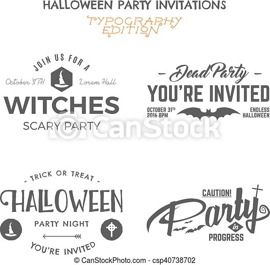 Halloween 2016 party invitation label templates with holiday halloween 2016 party invitation label templates with holiday symbols witch hat bat and typography stopboris Images