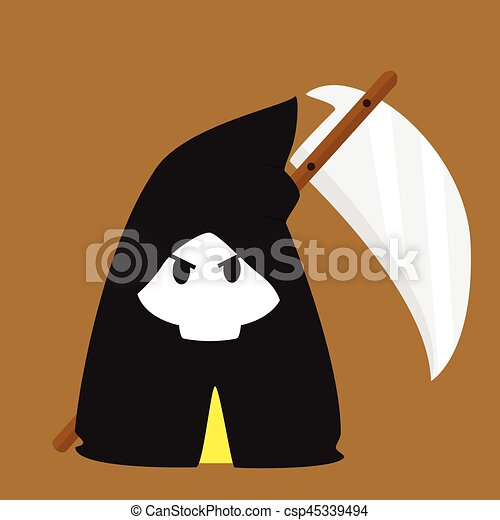 halloween, abbildung, schnitter, vektor, kostüm, grimmig