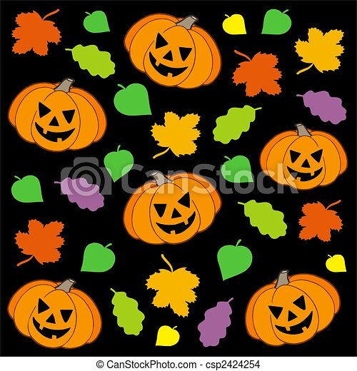 Halloween Background 1 With Pumpkins And Leaves Color Illustration