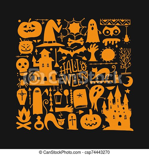 Halloween background for your design - csp74443270