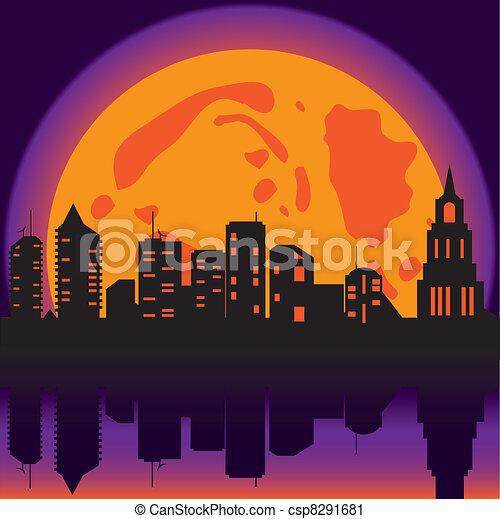 Halloween background night city - csp8291681
