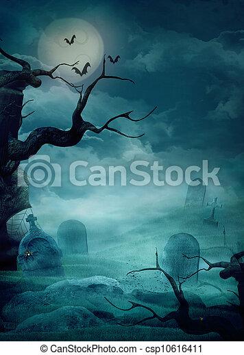 Halloween background - Spooky graveyard - csp10616411