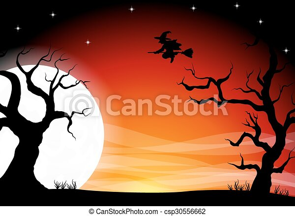halloween background with a full moon night - csp30556662