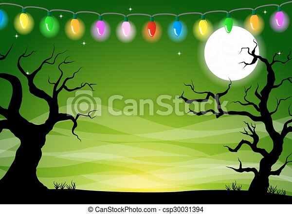 halloween background with a full moon night - csp30031394