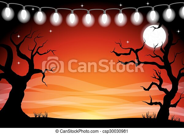 halloween background with a full moon night - csp30030981