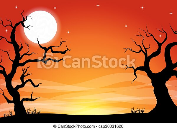 halloween background with a full moon night - csp30031620