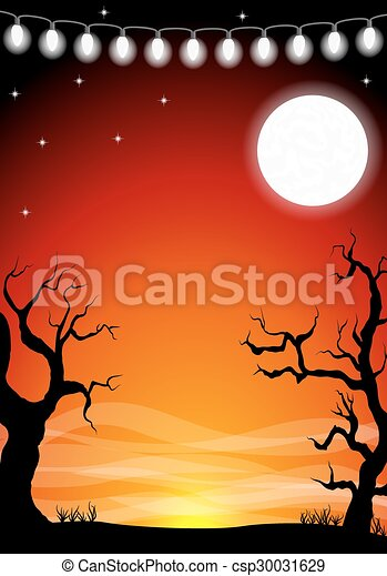 halloween background with a full moon night - csp30031629