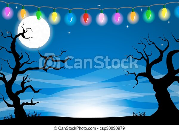halloween background with a full moon night - csp30030979