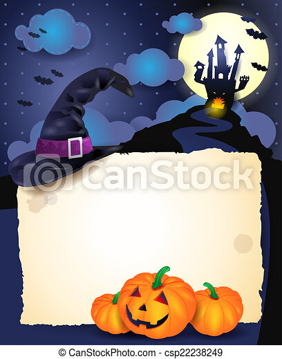 Halloween background with parchment - csp22238249