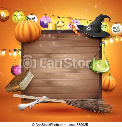 Halloween background with place for text - csp45890251