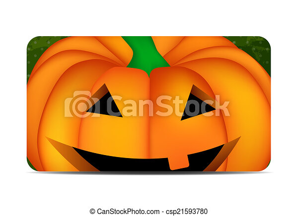 Halloween Background with Pumpkin Vector Illustration - csp21593780