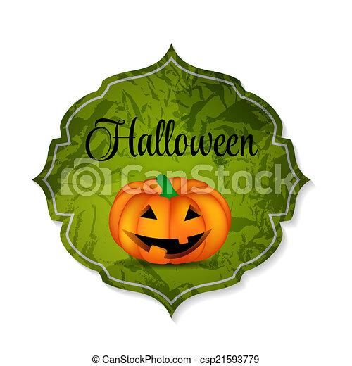 Halloween Background with Pumpkin Vector Illustration - csp21593779