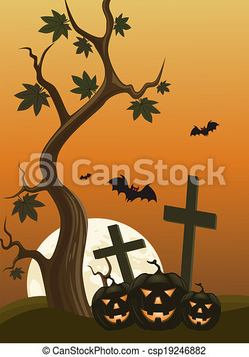 Halloween background with pumpkins and moon in the back - csp19246882