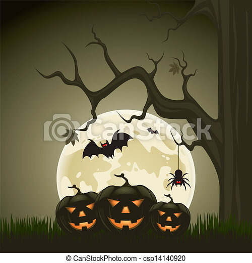Halloween background with pumpkins and moon in the back - csp14140920
