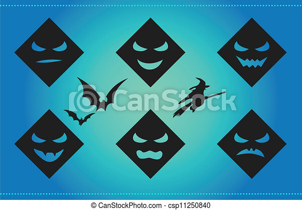 Halloween background with scary faces and silhouettes - csp11250840