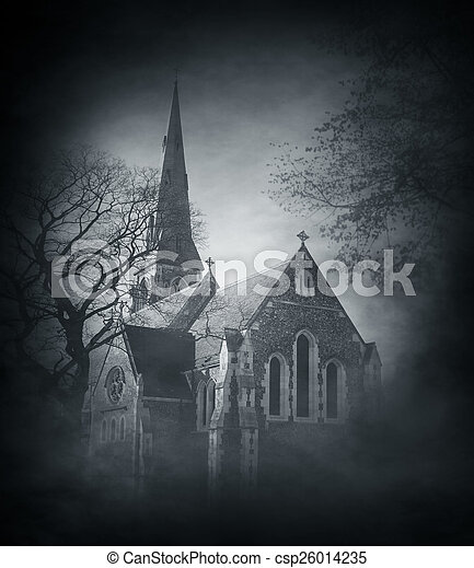 halloween background with spooky and ancient church over smoky background csp26014235