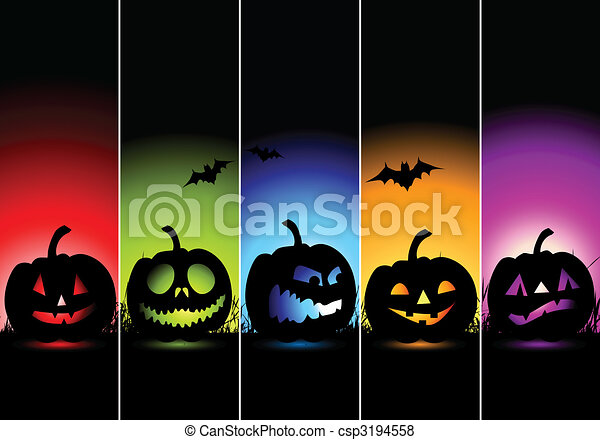 halloween, bandiere, disegno, tuo - csp3194558