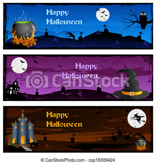 halloween banner easy to edit vector illustration of halloween banner rh canstockphoto com Halloween Witch Vector Vector Scroll