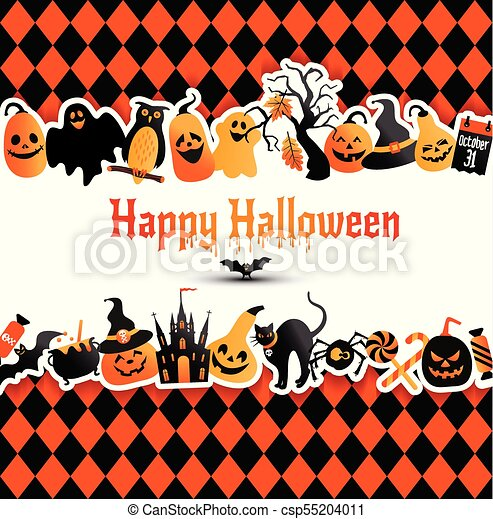 Halloween Banner On Colors Background Invitation To Night Party