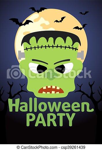 halloween banner with frankenstein csp39261439