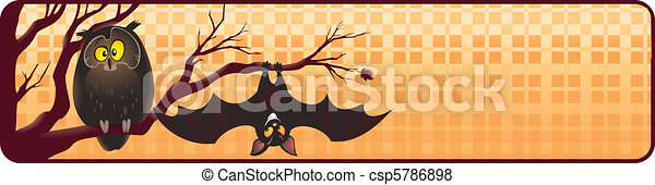 Halloween banner with owl and bat - csp5786898